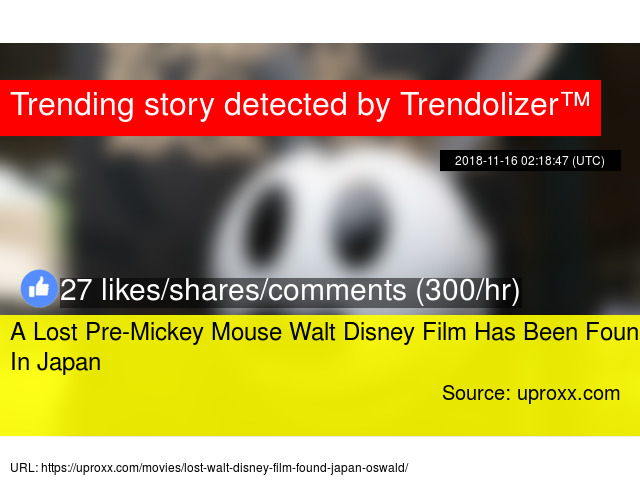 A Lost Pre Mickey Mouse Walt Disney Film Has Been Found In Japan